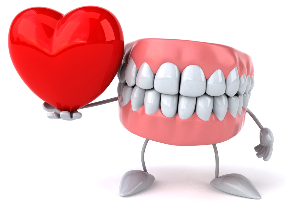 Illustration of set of healthy teeth with gums, hands, and feet holding a shiny red heart in right hand