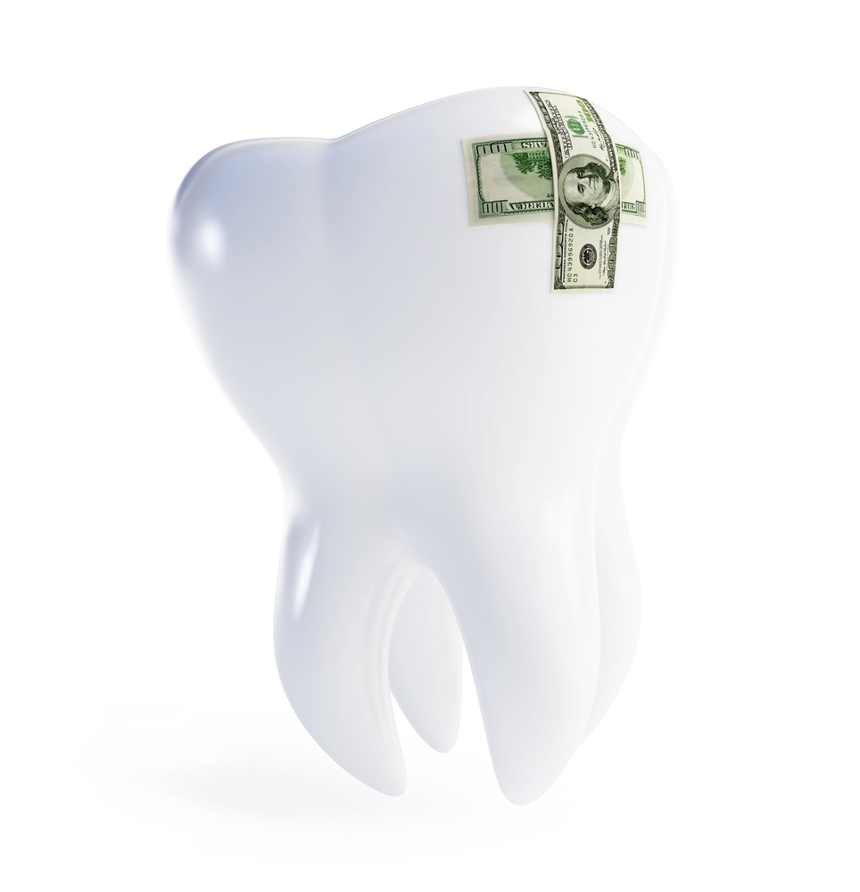 Illustration of white tooth with two one thousand dollar bills covering a damage to the tooth, dental costs concept