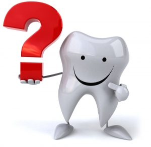 Illustration of tooth holding and pointing to a question mark