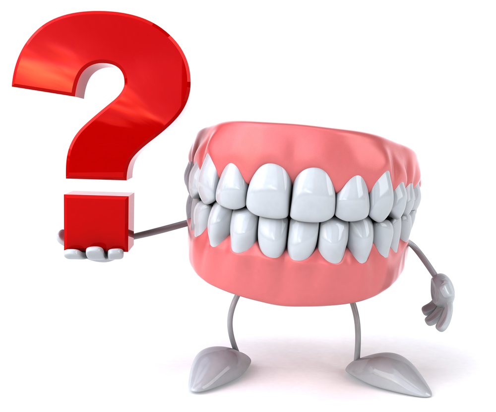 Illustration of teeth with arms and legs holding a red question mark