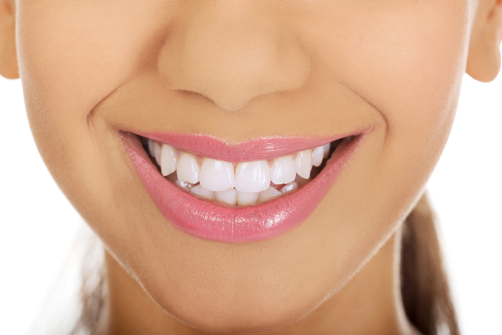 Closeup of woman smiling with healthy teeth