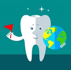 Smile Tooth putting flag to mark the globe. Flat style vector illustration